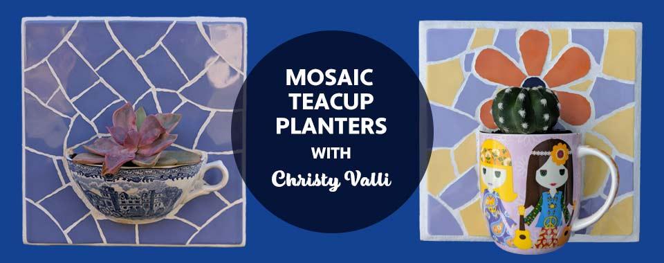Mosaic teacup planters DB